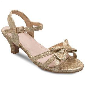 Girls Gold glitter kitten heels